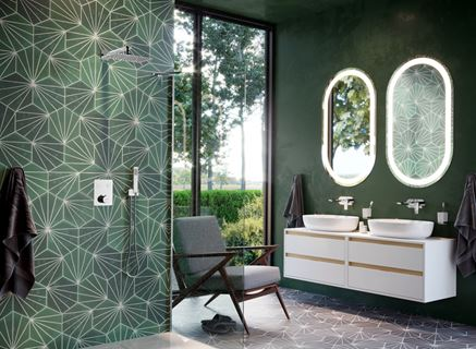 Nowoczesna łazienka w ciemnej zieleni