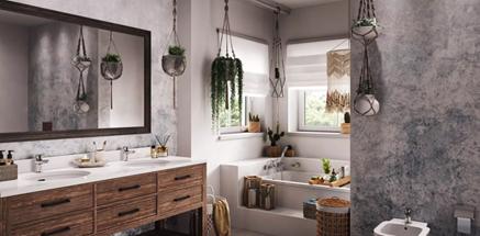 Eklektyczna łazienka w szarości i bieli