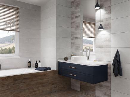 Szara łazienka z dodatkiem brązu i bieli Azario Grandes
