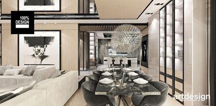 Salon z jadalnią w luksusowym stylu glamour