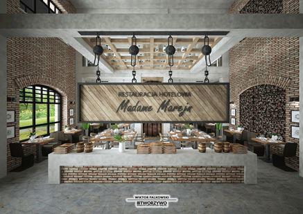 """Restauracja hotelowa - projekt """"Tworzywo"""" Warsztat architektury wnętrz"""