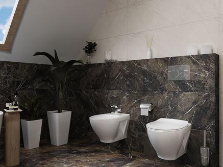 Szaro-biała łazienka pod skosami