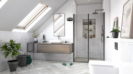 Chevron Bianco - wizualizacja łazienki