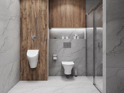 Aranżacja nowoczesnej łazienki z płytkami Azario Mercado i Bataro
