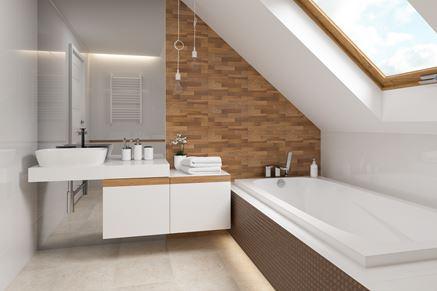 Łazienka ze skosami w loftowym klimacie - Opoczno Loft