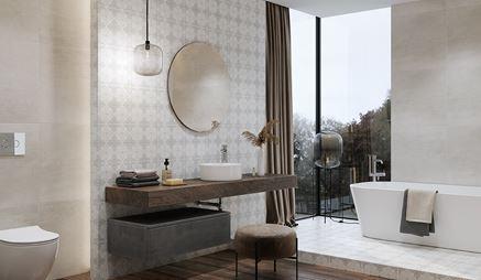 Łazienka glamour z patchworkowym wykończeniem