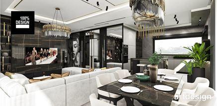 Jadalnia otwarta na salon i  nowoczesną kuchnie