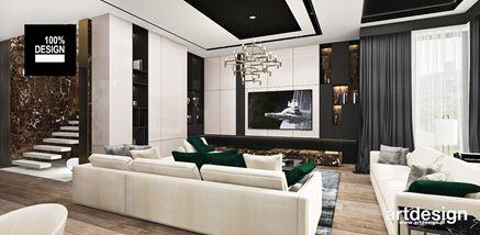 Strefa dzienna w rezydencji w stylu glamour