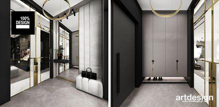 Przedpokój z wiszącą szafą w eleganckiej szarości