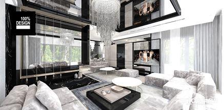 Szaro-czarny nowoczesny salon w domu jednorodzinnym