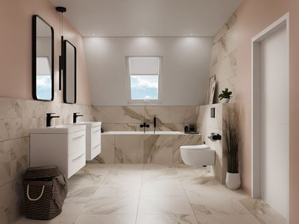 Jasna łazienka na poddaszu w marmurach