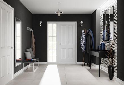 Czarno-biały przestronny przedpokój z lustrem