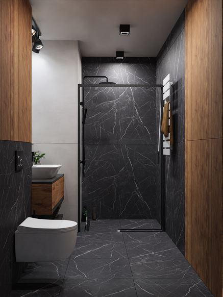 Czarny kamień i drewno w nowoczesnej łazience