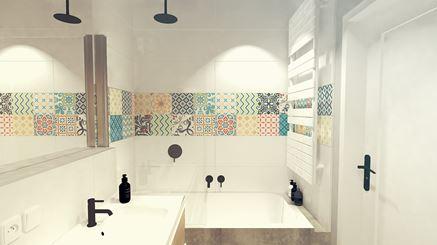 Biała łazienka z parawanem prysznicowym