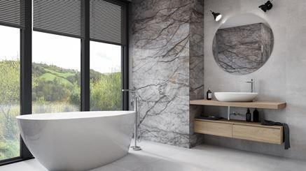 Projekt nowoczesnej łazienki z płytami Azario Artstone