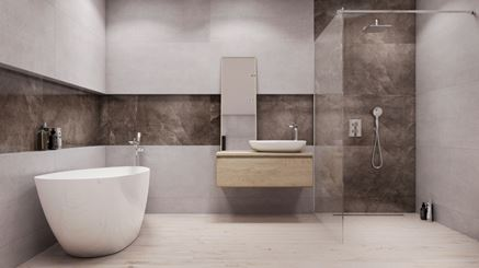 Nowoczesna łazienka z płytami Azario Humos Black