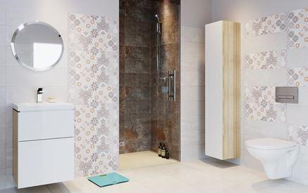 Stonowana łazienka z płytkami patchworkowymi Cersanit Mystery Land