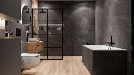 Ciemna łazienka w nowoczesnym stylu