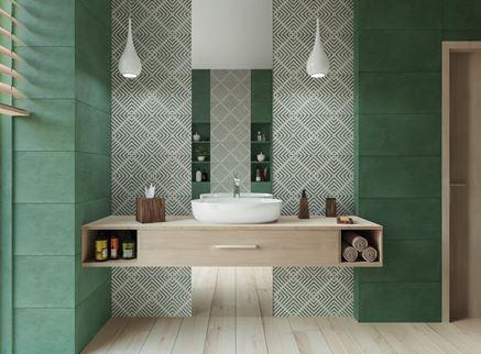 Zielona płytka i czarno-biały dekor z lustrem - Tubądzin Touch