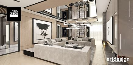Strefa wypoczynkowa domu w stylu glamour