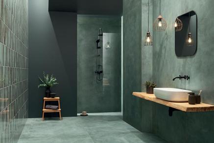 Łazienka w zieleni w minimalistycznej aranżacji