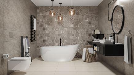 Stylowa łazienka z patchworkową ścianą