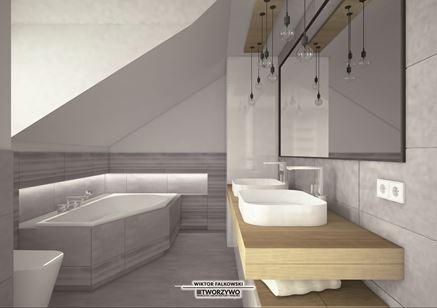 Łazienka na poddaszu z narożną wanną