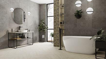 Szary beton i jasne drewno w industrialnej łazience