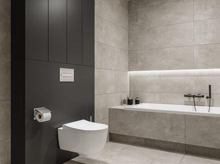 Szara łazienka z ciemnym akcentem
