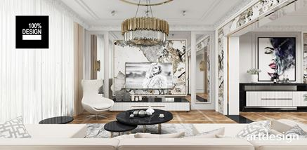 Salon glamour z marmurową ścianą telewizyjną