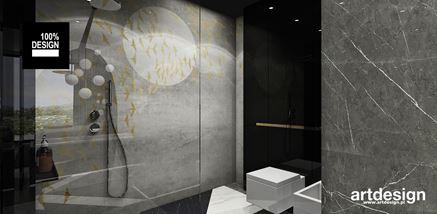 Łazienka w czerni i szarości z prysznicem walk-in
