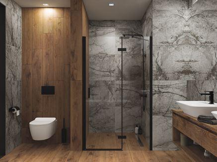 Aranżacja nowoczesnej łazienki w szarym kamieniu i drewnie