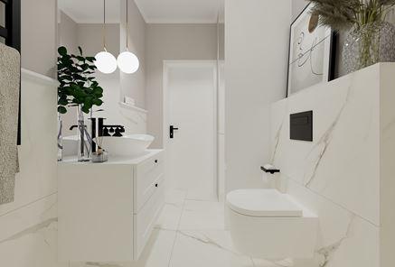 Biało-marmurowa łazienka z czarnymi akcentami