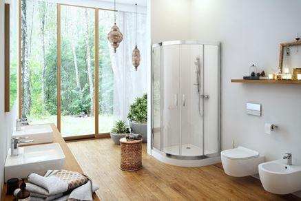 Aranżacja dużej łazienki z kabiną półokrągłą Excellent Seria 201