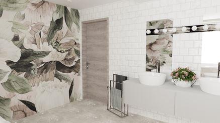Jasna łazienka z kwiatami i białymi płytkiami