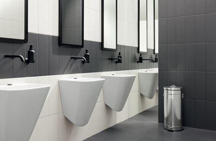 Toaleta publiczna z aranżacją Tubądzin Industria