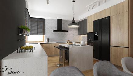Stylowa kuchnia z betonem i drewnem