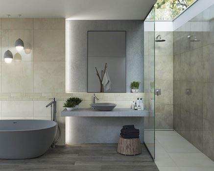 Beżowa łazienka z subtelną listwą ścienną