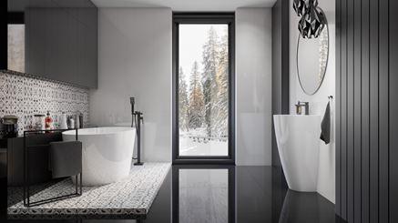 Czarno-biała łazienka glamour z patchworkową płytką