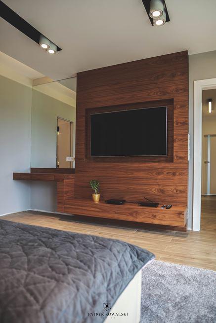 Sypialnia z rysunkiem eleganckiego drewna