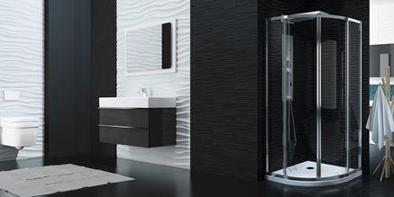 Łazienka ze ścianą strukturalną i kabiną półokrągłą New Trendy Luxia
