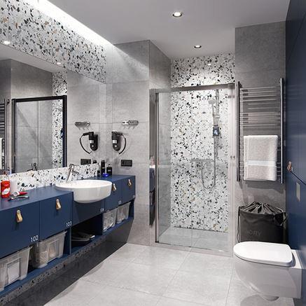 Nowoczesna, szara łazienka z kamiennymi ścianami