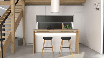 Biały aneks kuchenny - strefa dzienna w nowoczesnym domu