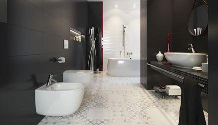 Czarno-biała łazienka z dekoracyjną podłogą