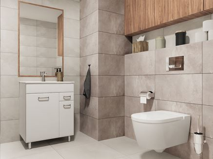 Szara łazienka z płytkami z wzorem kamienia