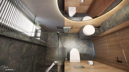 Mała łazienka z oknem i prysznicem