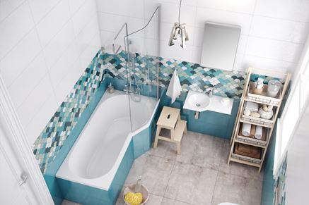 Wanna prawa Excellent Be Spot w biało-niebieskiej łazience