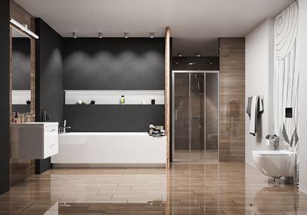 Przestronna łazienka z wanną i prysznicem z drewnopodobnym gresem