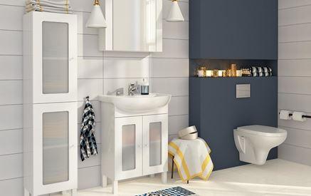 Nowoczesna łazienka z ceramiką o zaokrąglonych kształtach Cersanit Arteco