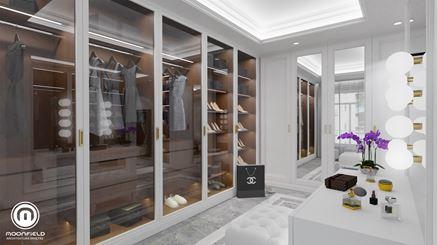 Przestronna, szklana garderoba w sypialni